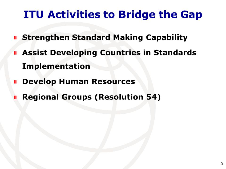 Strengthen Standard Making Capability Mentoring programme for newcomers to Study Groups Mentor role in study group Research on measuring and reducing the standardization capability gap Free access to ITU-T Standards Increase remote participation and collaboration Reduced fees (CHF 3,975) for developing countries including academia Study on assessing the standardization capability of developing countries 7