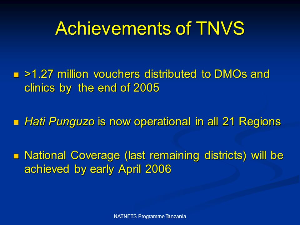 NATNETS Programme Tanzania Hati Punguzo vouchers issued to DMOs and clinics by 2005 year end
