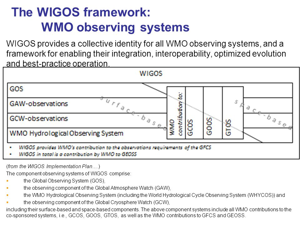 The WIGOS framework: WMO observing systems WIGOS provides a collective identity for all WMO observing systems, and a framework for enabling their integration, interoperability, optimized evolution and best-practice operation.