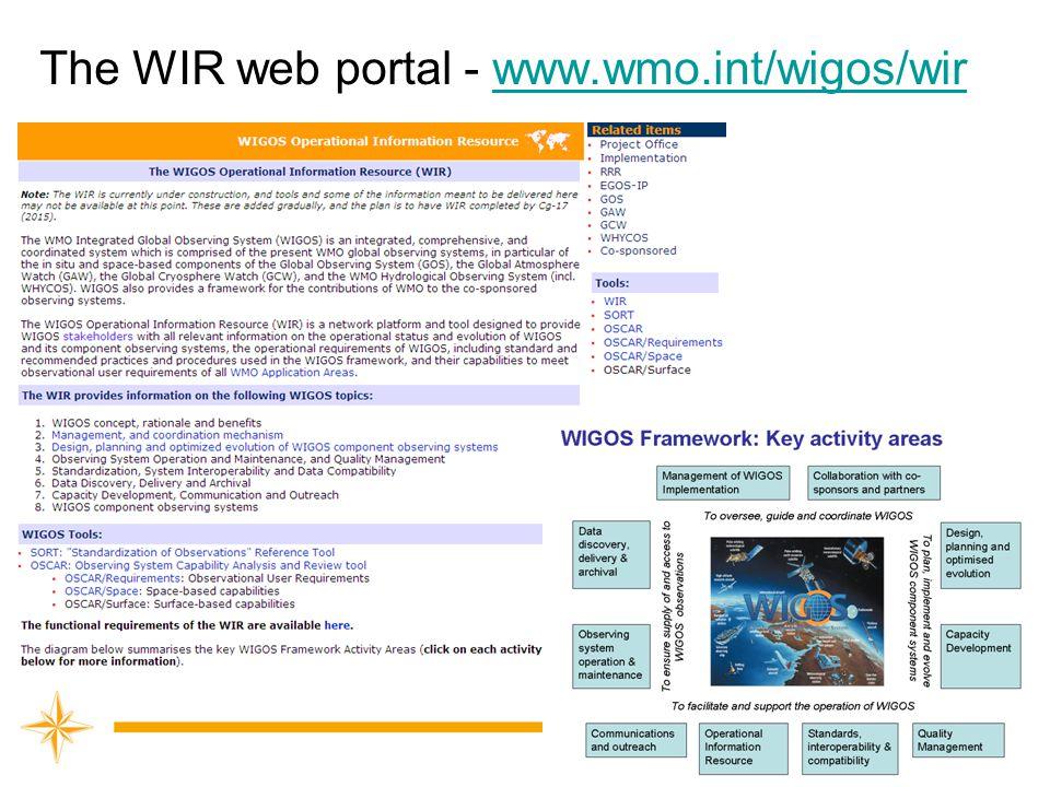 The WIR web portal - www.wmo.int/wigos/wirwww.wmo.int/wigos/wir