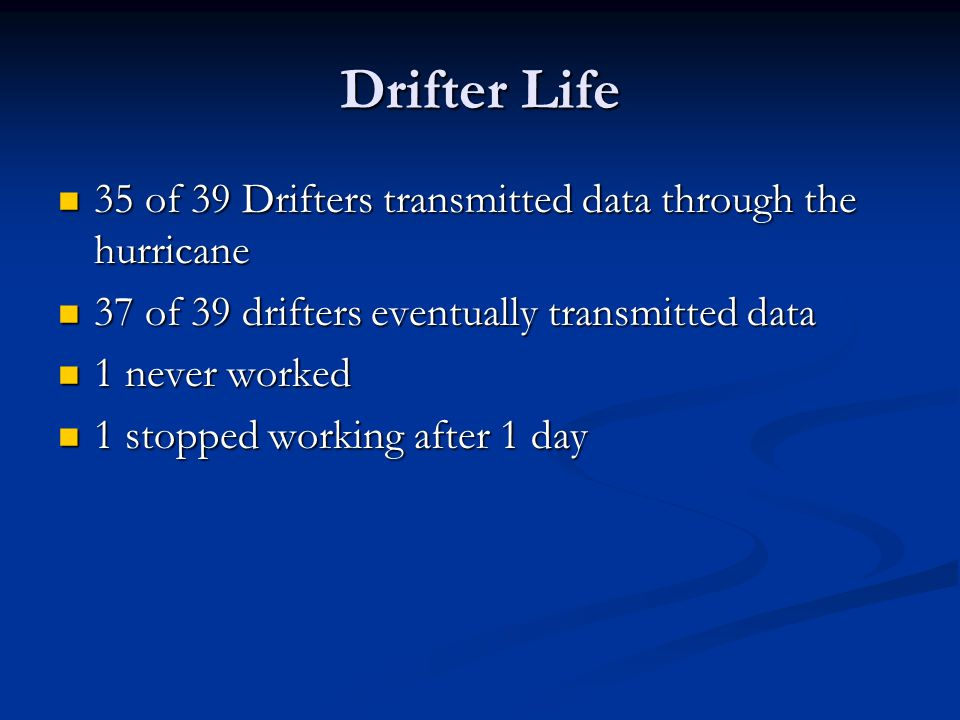 Drifter Life 35 of 39 Drifters transmitted data through the hurricane 35 of 39 Drifters transmitted data through the hurricane 37 of 39 drifters event