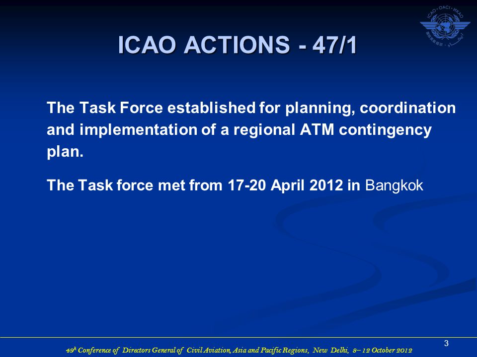 49 h Conference of Directors General of Civil Aviation, Asia and Pacific Regions, New Delhi, 8– 12 October 2012 The Task Force established for planning, coordination and implementation of a regional ATM contingency plan.