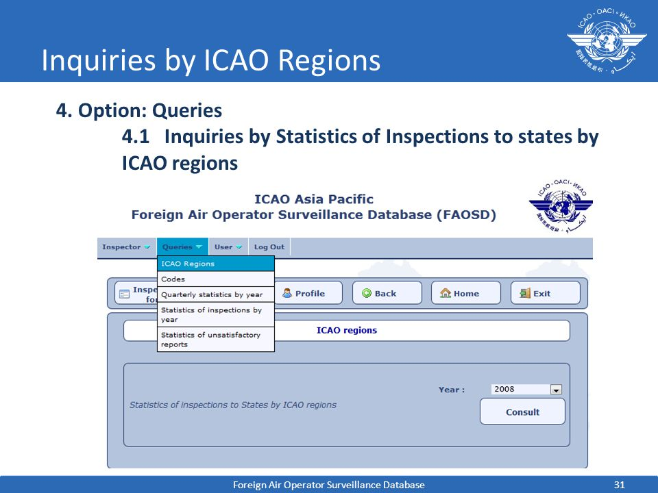 31 Inquiries by ICAO Regions Foreign Air Operator Surveillance Database 4.