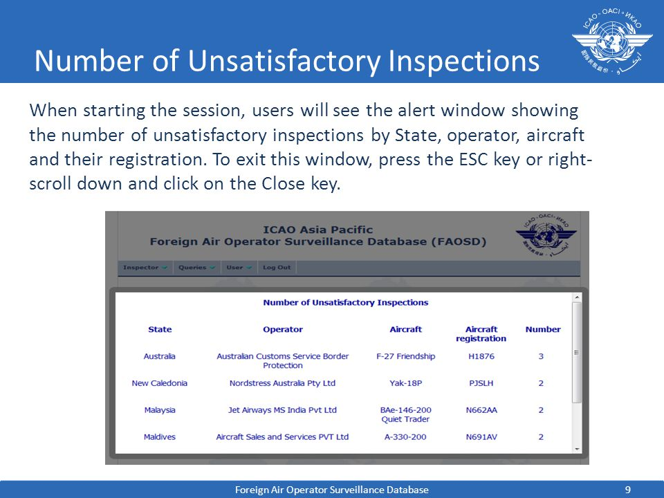 9 Number of Unsatisfactory Inspections Foreign Air Operator Surveillance Database When starting the session, users will see the alert window showing the number of unsatisfactory inspections by State, operator, aircraft and their registration.