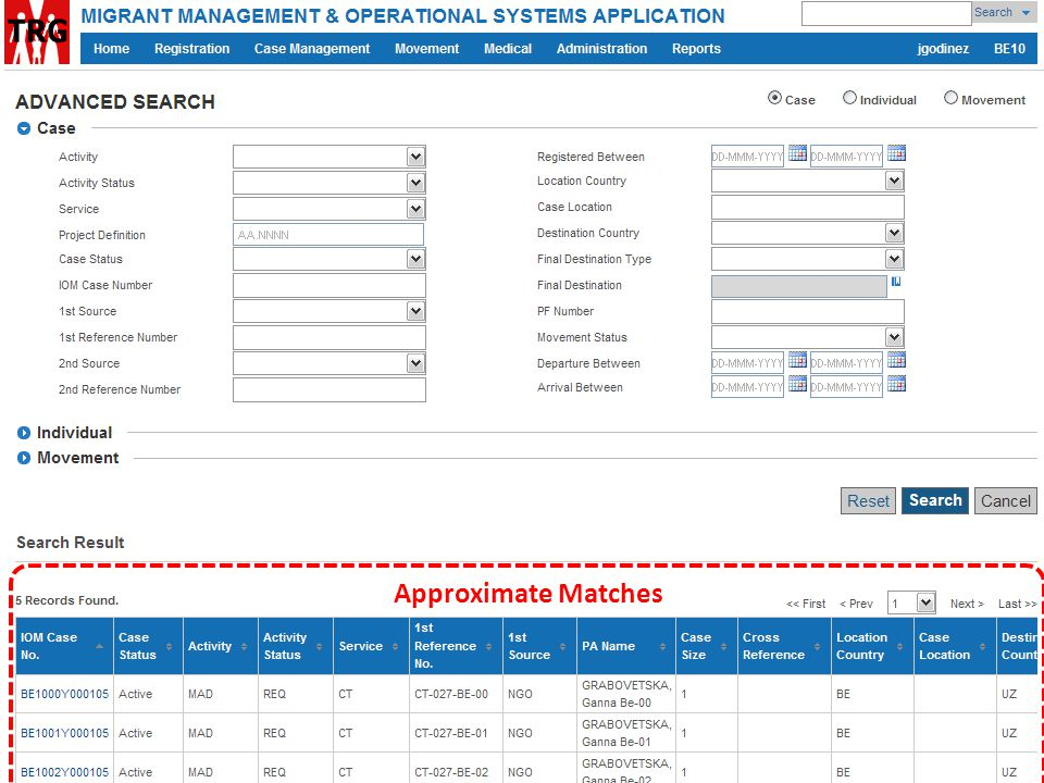 Approximate Matches