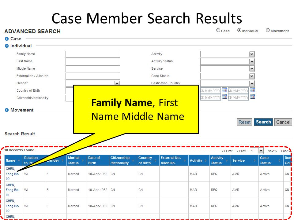 Case Member Search Results Family Name, First Name Middle Name