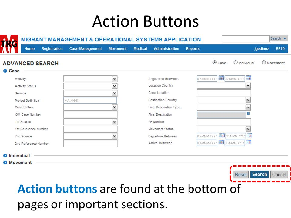 Action Buttons Action buttons are found at the bottom of pages or important sections.