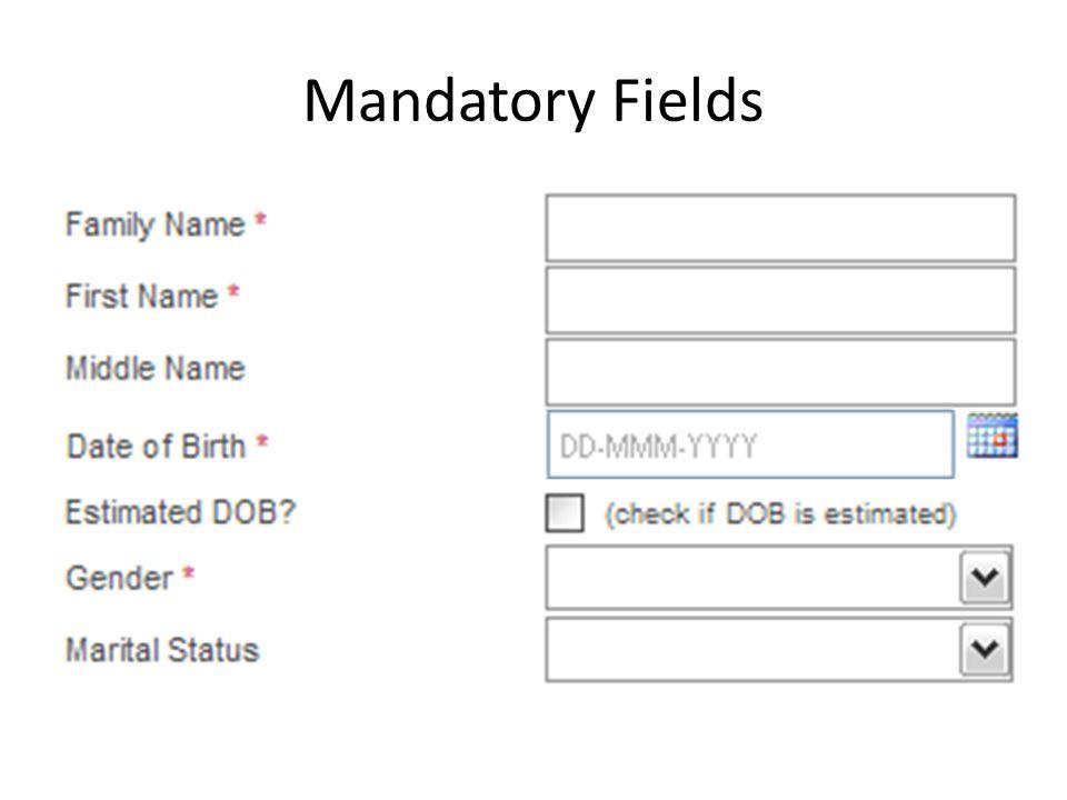 Mandatory Fields