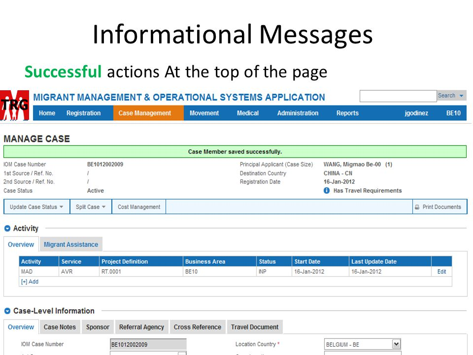 Informational Messages Successful actions At the top of the page