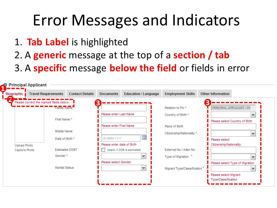 Error Messages and Indicators 1. Tab Label is highlighted 2.A generic message at the top of a section / tab 3.A specific message below the field or fi