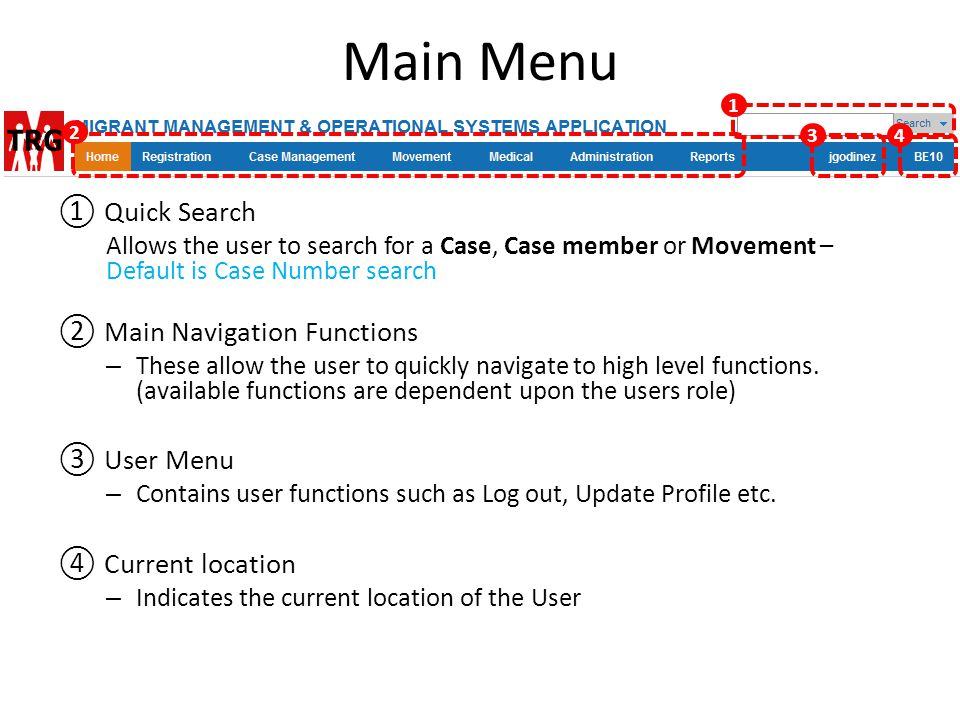 Main Menu ① Quick Search Allows the user to search for a Case, Case member or Movement – Default is Case Number search ② Main Navigation Functions – T