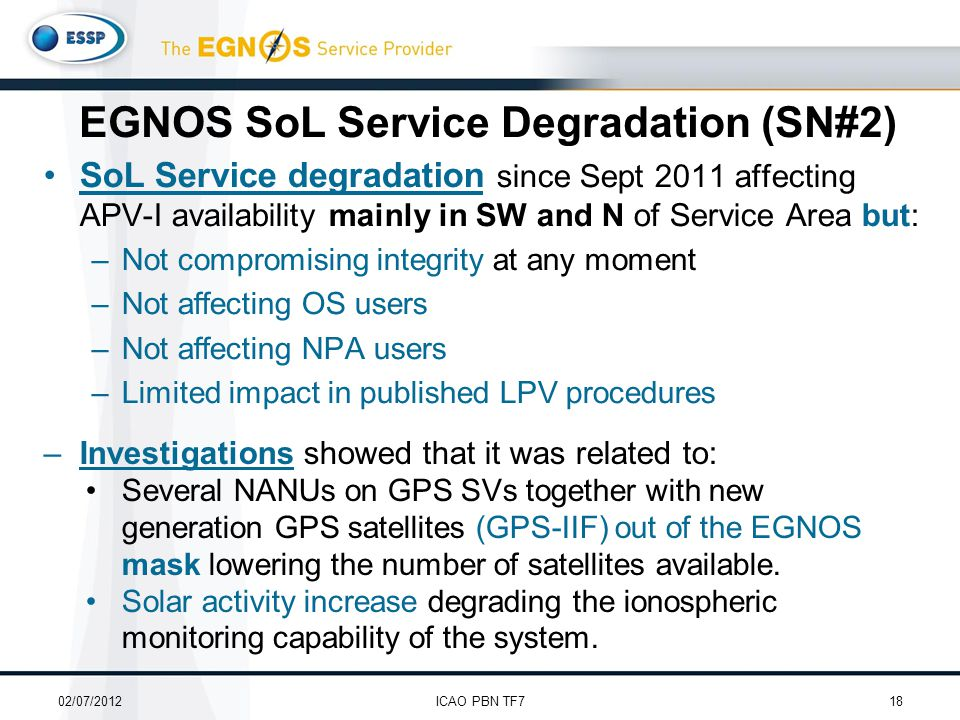 SoL Service degradation since Sept 2011 affecting APV-I availability mainly in SW and N of Service Area but: –Not compromising integrity at any moment –Not affecting OS users –Not affecting NPA users –Limited impact in published LPV procedures EGNOS SoL Service Degradation (SN#2) 02/07/201218ICAO PBN TF7 –Investigations showed that it was related to: Several NANUs on GPS SVs together with new generation GPS satellites (GPS-IIF) out of the EGNOS mask lowering the number of satellites available.