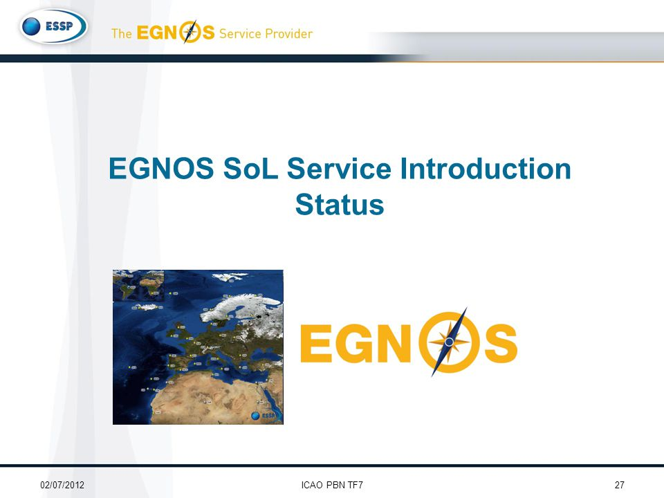 EGNOS SoL Service Introduction Status 02/07/201227ICAO PBN TF7