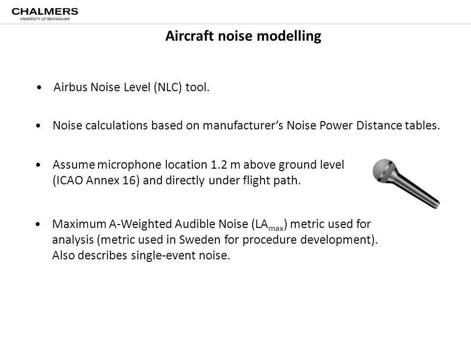 Aircraft noise modelling Airbus Noise Level (NLC) tool. Assume microphone location 1.2 m above ground level (ICAO Annex 16) and directly under flight