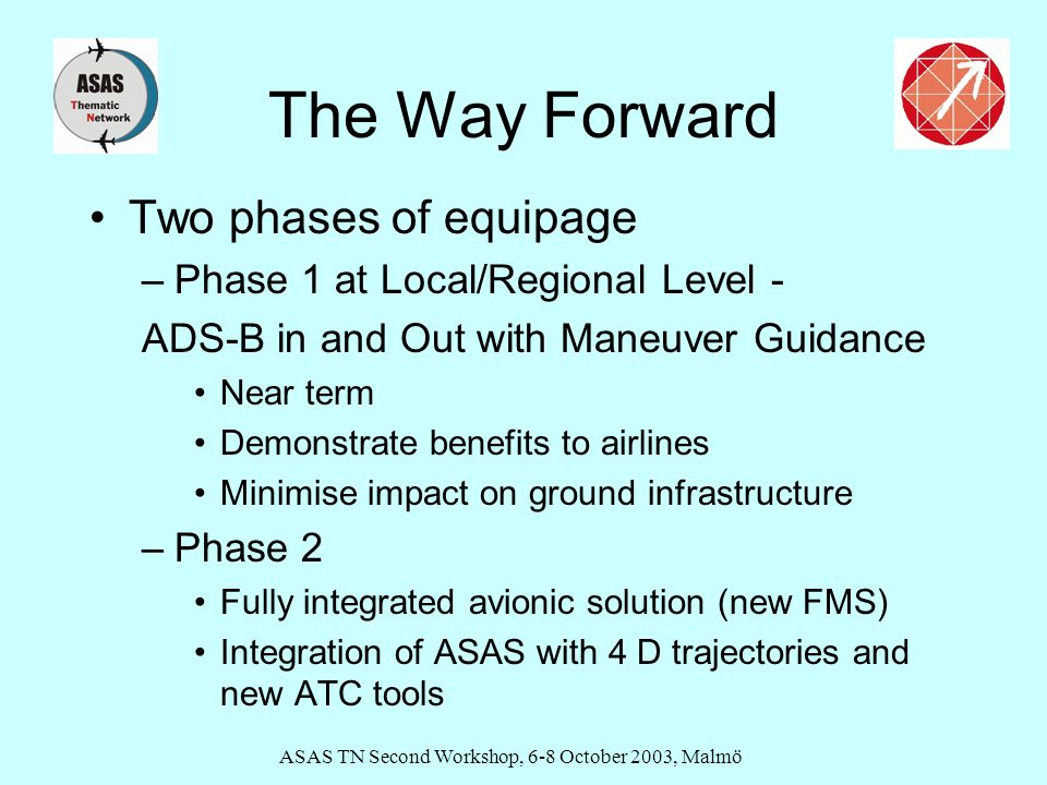 ASAS TN Second Workshop, 6-8 October 2003, Malmö The Way Forward Two phases of equipage –Phase 1 at Local/Regional Level - ADS-B in and Out with Maneuver Guidance Near term Demonstrate benefits to airlines Minimise impact on ground infrastructure –Phase 2 Fully integrated avionic solution (new FMS) Integration of ASAS with 4 D trajectories and new ATC tools