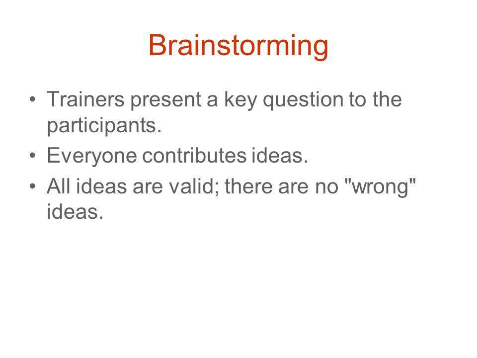 Brainstorming Trainers present a key question to the participants.