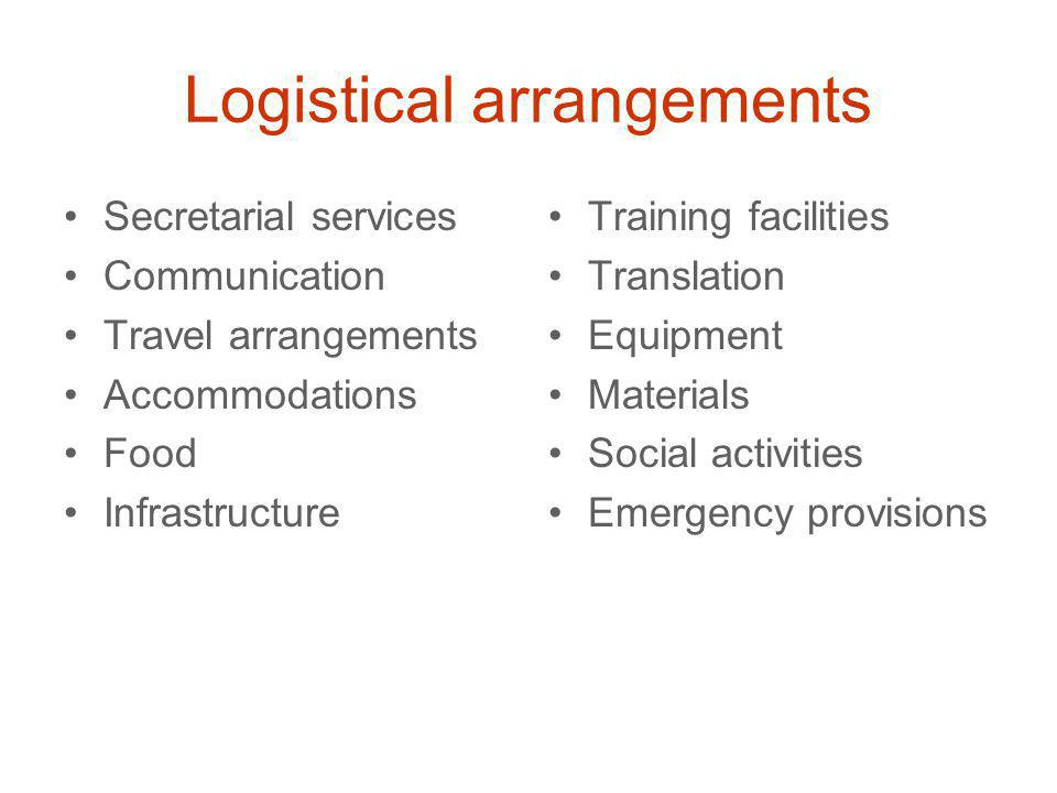 Logistical arrangements Secretarial services Communication Travel arrangements Accommodations Food Infrastructure Training facilities Translation Equipment Materials Social activities Emergency provisions