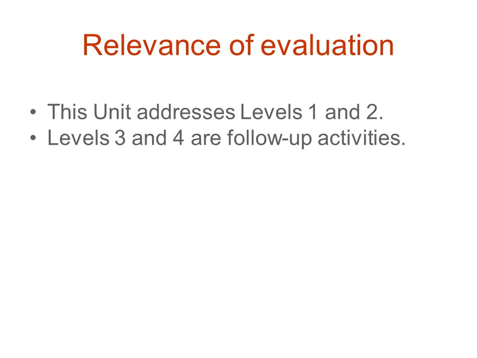 Relevance of evaluation This Unit addresses Levels 1 and 2.