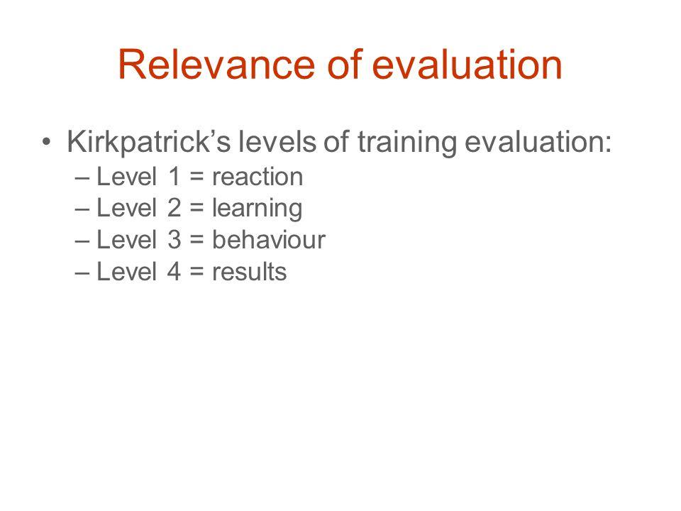 Relevance of evaluation Kirkpatrick's levels of training evaluation: –Level 1 = reaction –Level 2 = learning –Level 3 = behaviour –Level 4 = results