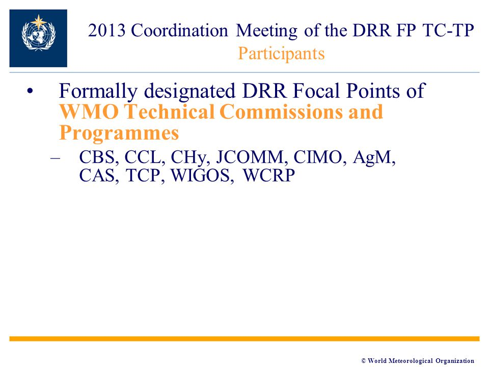 © World Meteorological Organization 2013 Coordination Meeting of the DRR FP TC-TP Participants Formally designated DRR Focal Points of WMO Technical Commissions and Programmes –CBS, CCL, CHy, JCOMM, CIMO, AgM, CAS, TCP, WIGOS, WCRP