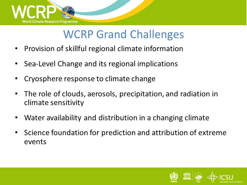 WCRP Grand Challenges Provision of skillful regional climate information Sea-Level Change and its regional implications Cryosphere response to climate change The role of clouds, aerosols, precipitation, and radiation in climate sensitivity Water availability and distribution in a changing climate Science foundation for prediction and attribution of extreme events
