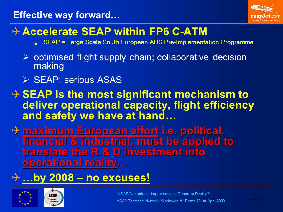 """ASAS Operational Improvements: Dream or Reality?""… ASAS Thematic Network Workshop #1 Rome 28-30 April 2003 Slide 12 Effective way forward…  Accelera"