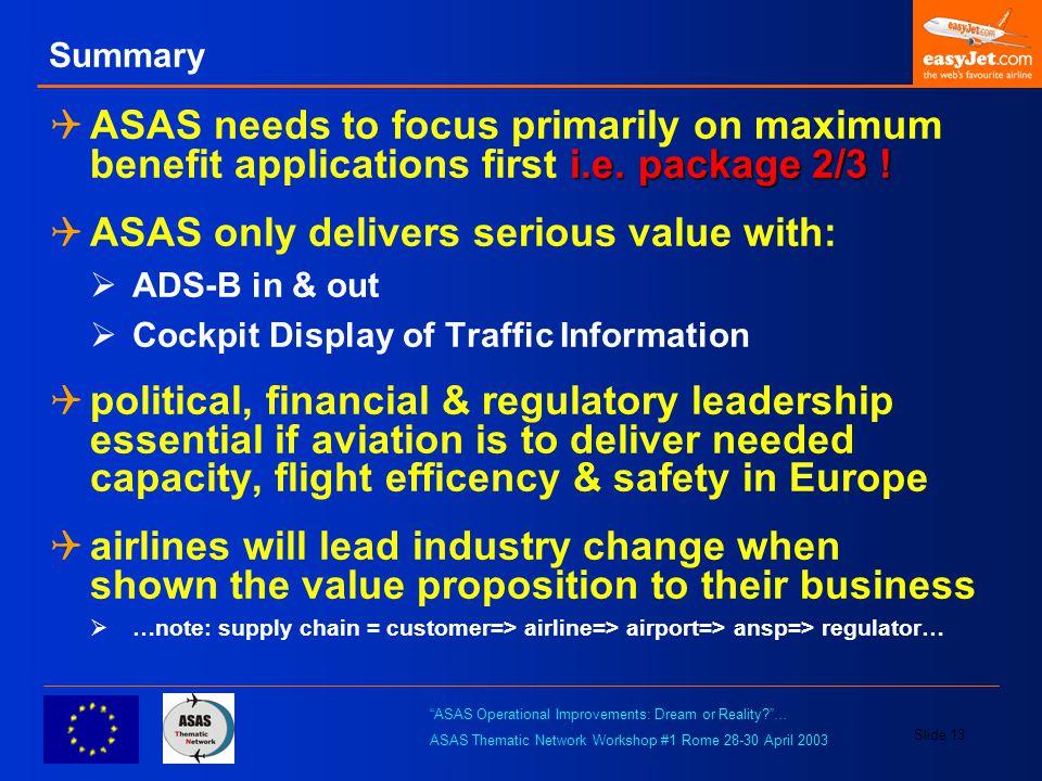 ASAS Operational Improvements: Dream or Reality … ASAS Thematic Network Workshop #1 Rome 28-30 April 2003 Slide 13 Summary i.e.