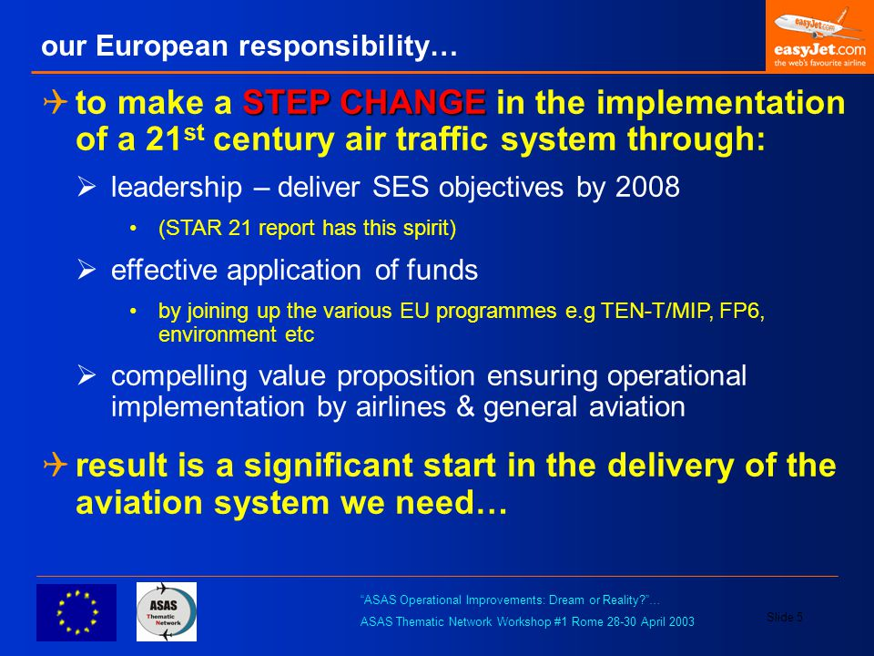ASAS Operational Improvements: Dream or Reality? … ASAS Thematic Network Workshop #1 Rome 28-30 April 2003 Slide 6 parallel worlds show us a way…  safety - maritime; Automatic Identification System (AIS) www.imo.org www.imo.org  July 2002 – mandate regulation start… Dec 2004 – large ship completion  70,000 ships in 2 ½ years…  safety - general aviation; Capstone/UAT http://www.alaska.faa.gov/capstone/docs/baseline.pdf http://www.alaska.faa.gov/capstone/docs/baseline.pdf  1995 – study….