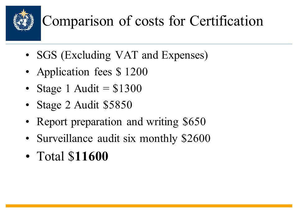 Comparison of costs for Certification SGS (Excluding VAT and Expenses) Application fees $ 1200 Stage 1 Audit = $1300 Stage 2 Audit $5850 Report preparation and writing $650 Surveillance audit six monthly $2600 Total $11600