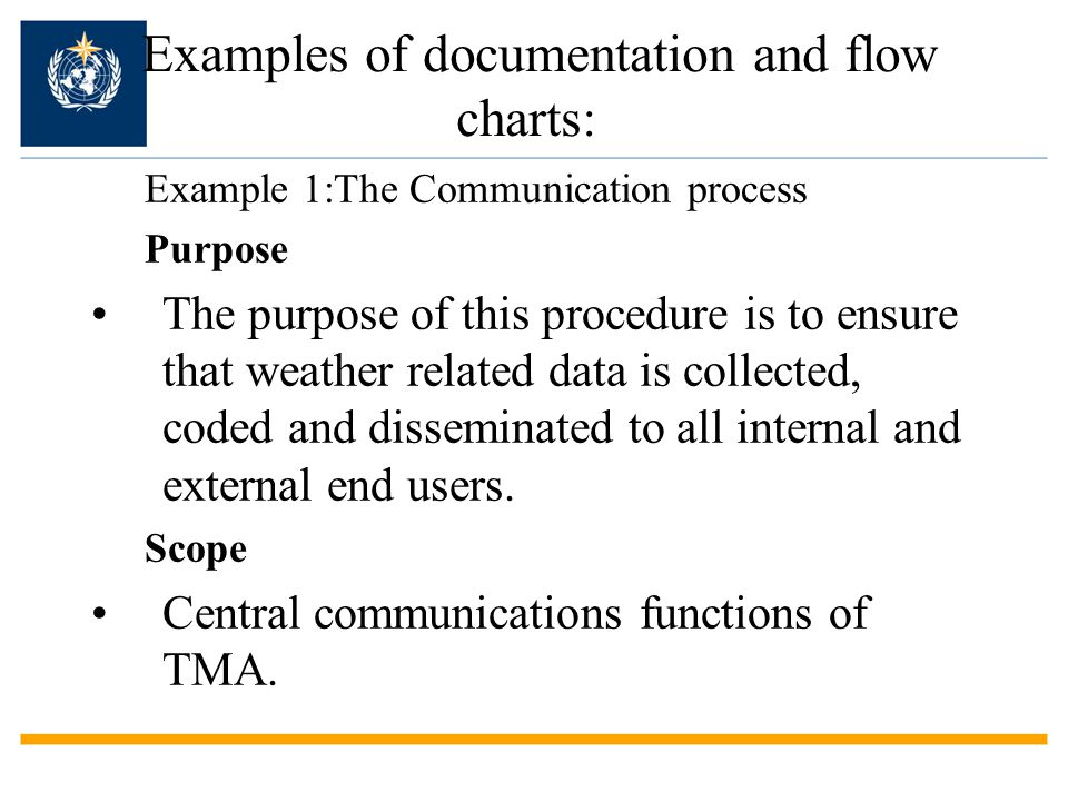 Examples of documentation and flow charts: Example 1:The Communication process Purpose The purpose of this procedure is to ensure that weather related data is collected, coded and disseminated to all internal and external end users.