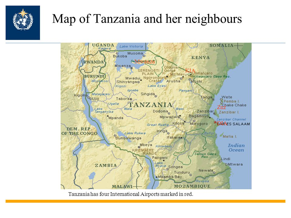 Map of Tanzania and her neighbours KIA Mwanza Znz DIA Tanzania has four International Airports marked in red.