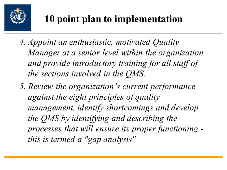 10 point plan to implementation 6.