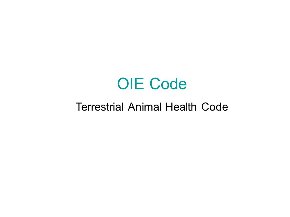 OIE Code Terrestrial Animal Health Code