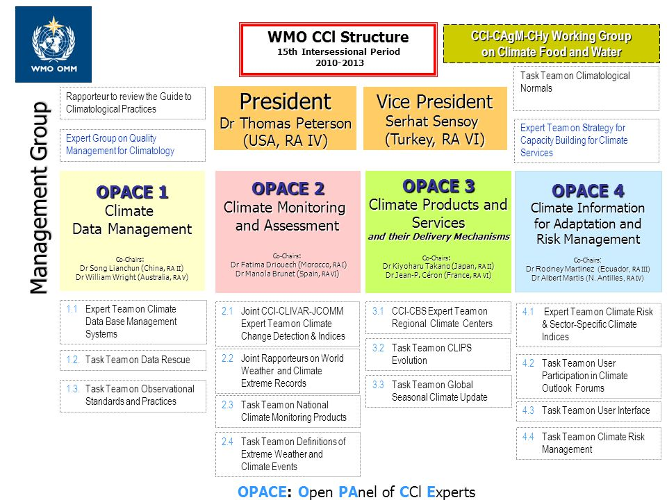 OPACE: Open PAnel of CCl Experts OPACE 1 Climate Data Management Co-Chairs : Dr Song Lianchun (China, RA II ) Dr William Wright (Australia, RA V ) OPA