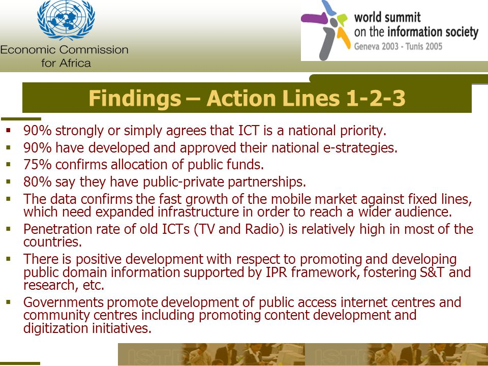 Findings – Action Lines  90% strongly or simply agrees that ICT is a national priority.