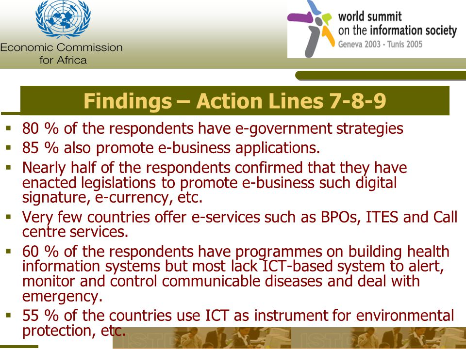 Findings – Action Lines 7-8-9..contd  Deployment of E-agriculture and e-science applications is low  60 % of the respondents confirm that their governments support local content, digitisation, adaptation…  85 % of the respondents indicated that the media play an important role in creating the information society in their respective countries with 90 % confirmation from countries that the media enjoys guarantee of independence and plurality.