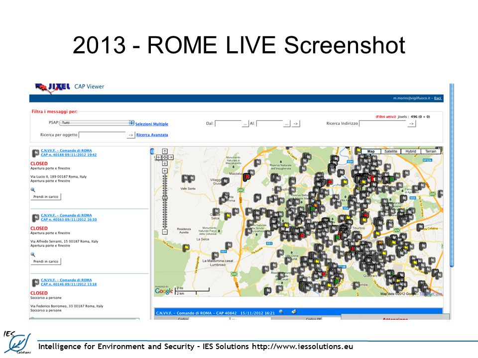 Intelligence for Environment and Security – IES Solutions http://www.iessolutions.eu 2013 - ROME LIVE Screenshot