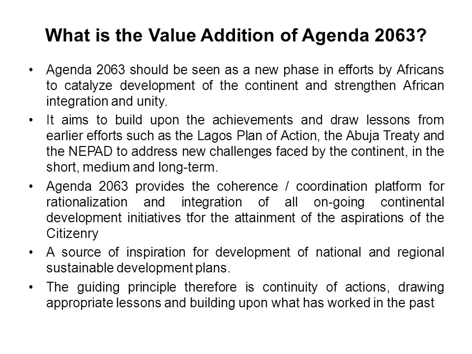 What is the Value Addition of Agenda 2063.