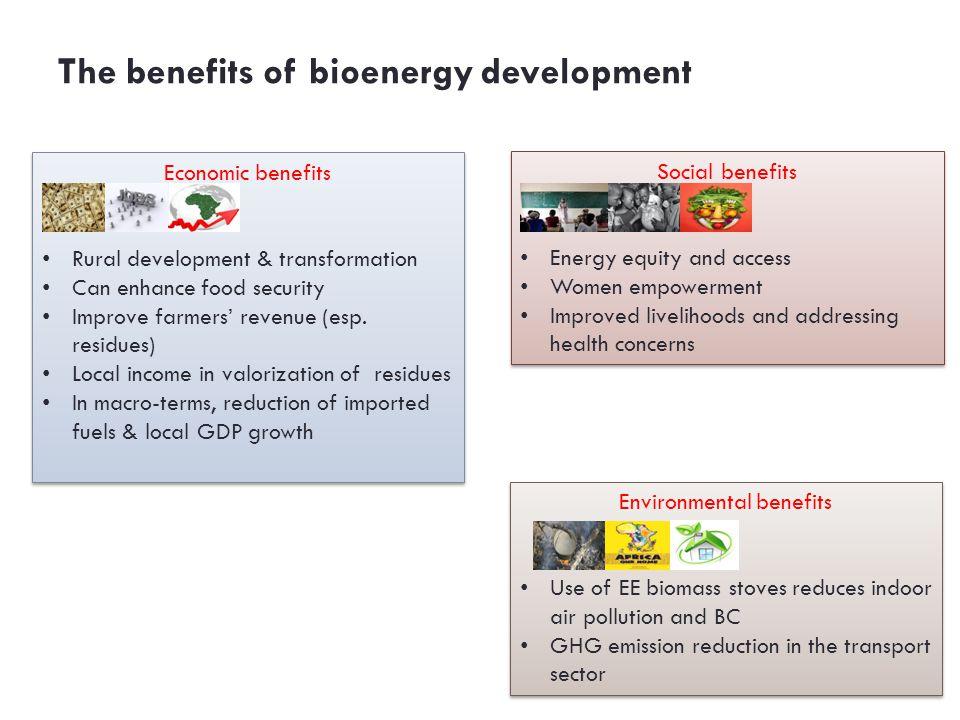 The benefits of bioenergy development Economic benefits Rural development & transformation Can enhance food security Improve farmers' revenue (esp. re