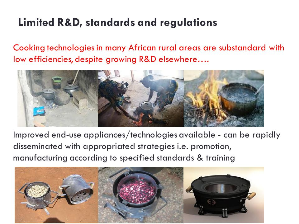 Limited R&D, standards and regulations Cooking technologies in many African rural areas are substandard with low efficiencies, despite growing R&D elsewhere….