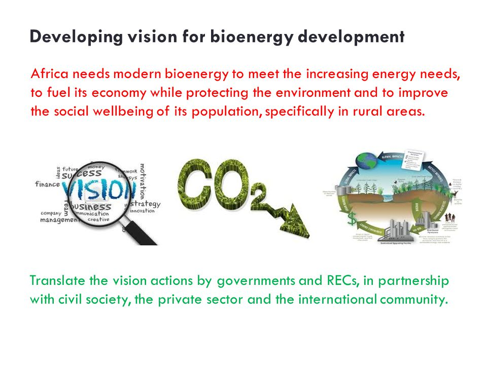 Developing vision for bioenergy development Africa needs modern bioenergy to meet the increasing energy needs, to fuel its economy while protecting the environment and to improve the social wellbeing of its population, specifically in rural areas.