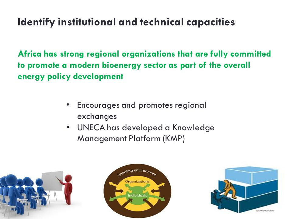 Identify institutional and technical capacities Africa has strong regional organizations that are fully committed to promote a modern bioenergy sec­tor as part of the overall energy policy development Encourages and promotes regional exchanges UNECA has developed a Knowledge Management Platform (KMP)
