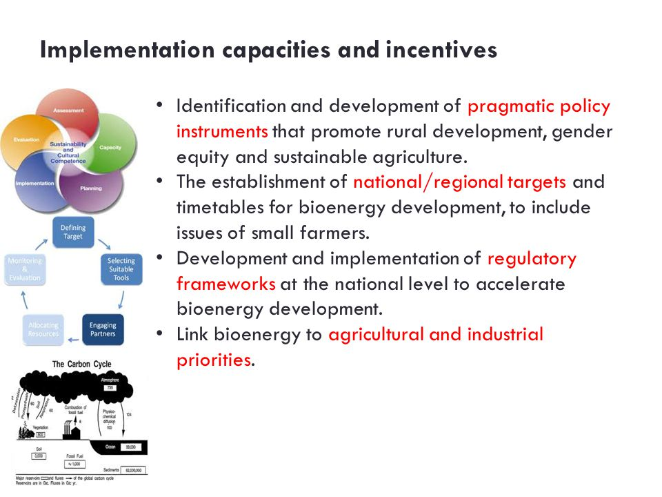 Implementation capacities and incentives Identification and development of pragmatic policy instruments that promote rural development, gender equity and sustainable agriculture.