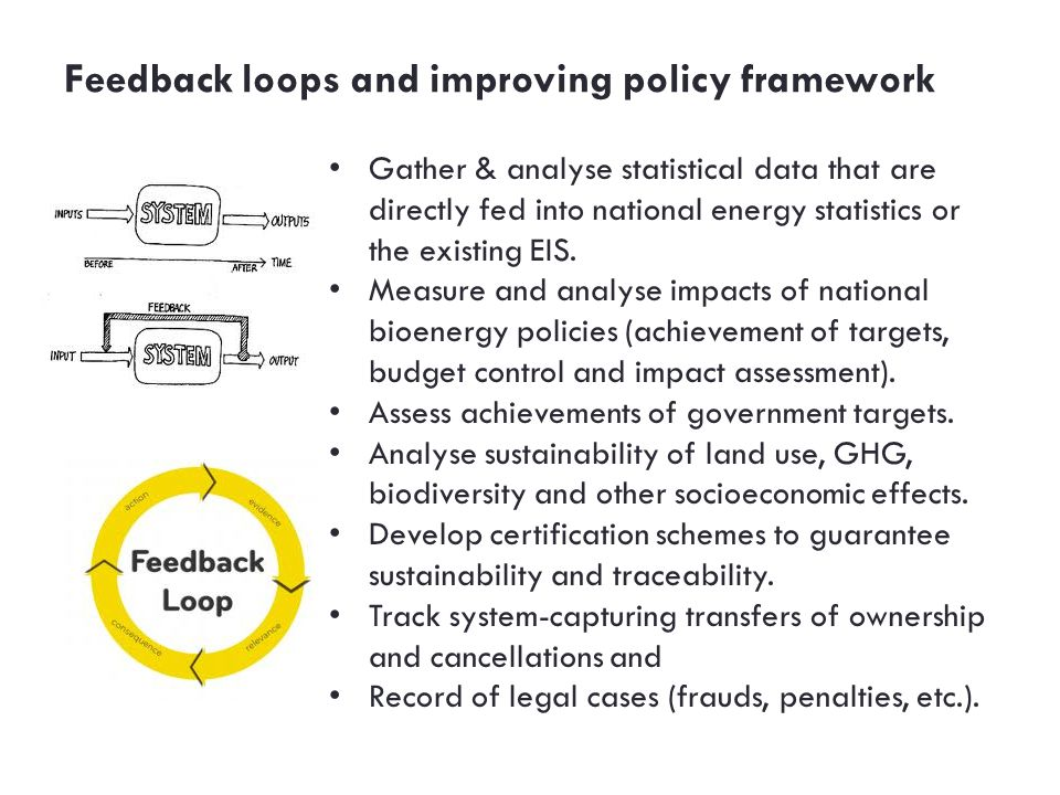 Feedback loops and improving policy framework Gather & analyse statistical data that are directly fed into national energy statistics or the exist­ing EIS.
