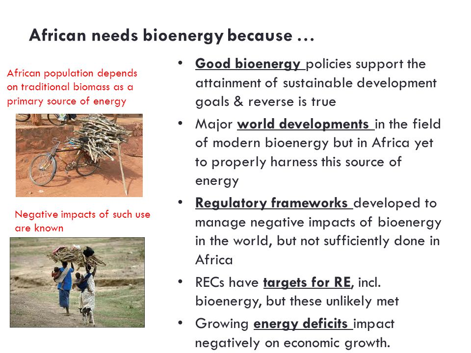 African needs bioenergy because … Good bioenergy policies support the attainment of sustainable development goals & reverse is true Major world developments in the field of modern bioenergy but in Africa yet to properly harness this source of energy Regulatory frameworks developed to manage negative impacts of bioenergy in the world, but not sufficiently done in Africa RECs have targets for RE, incl.