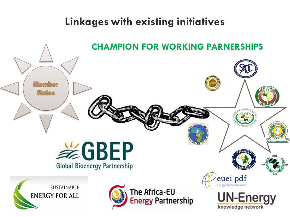 Linkages with existing initiatives CHAMPION FOR WORKING PARNERSHIPS