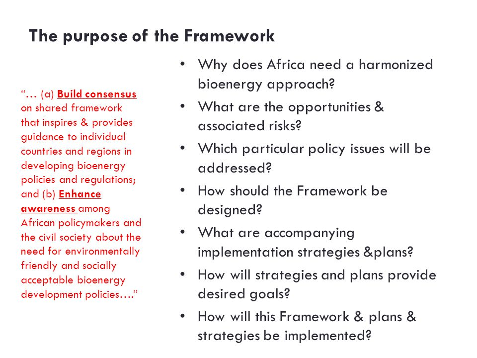 The purpose of the Framework Why does Africa need a harmonized bioenergy approach.