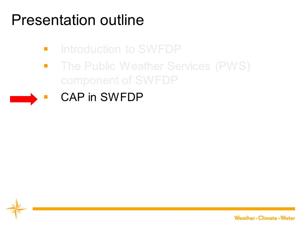 WMO Presentation outline  Introduction to SWFDP  The Public Weather Services (PWS) component of SWFDP  CAP in SWFDP