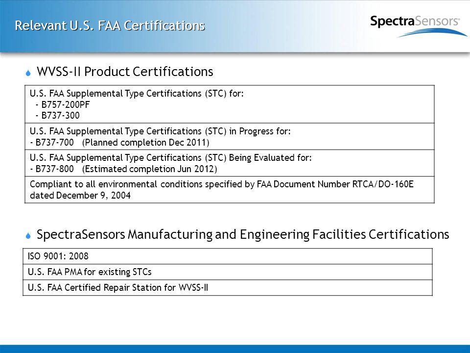 Relevant U.S. FAA Certifications U.S. FAA Supplemental Type Certifications (STC) for: - B757-200PF - B737-300 U.S. FAA Supplemental Type Certification