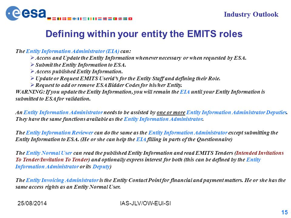 Industry Outlook 25/08/2014IAS-JLV/OW-EUI-SI 15 Industry Outlook The Entity Information Administrator (EIA) can:  Access and Update the Entity Information whenever necessary or when requested by ESA.